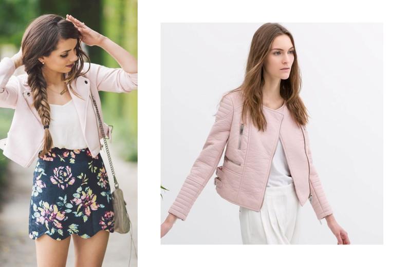 pink leather jacket