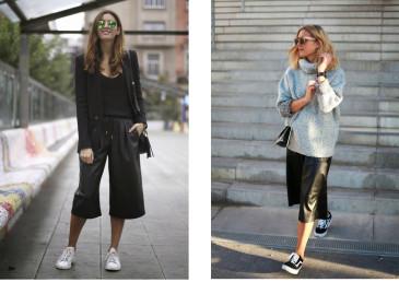 culottes e sneakers trend