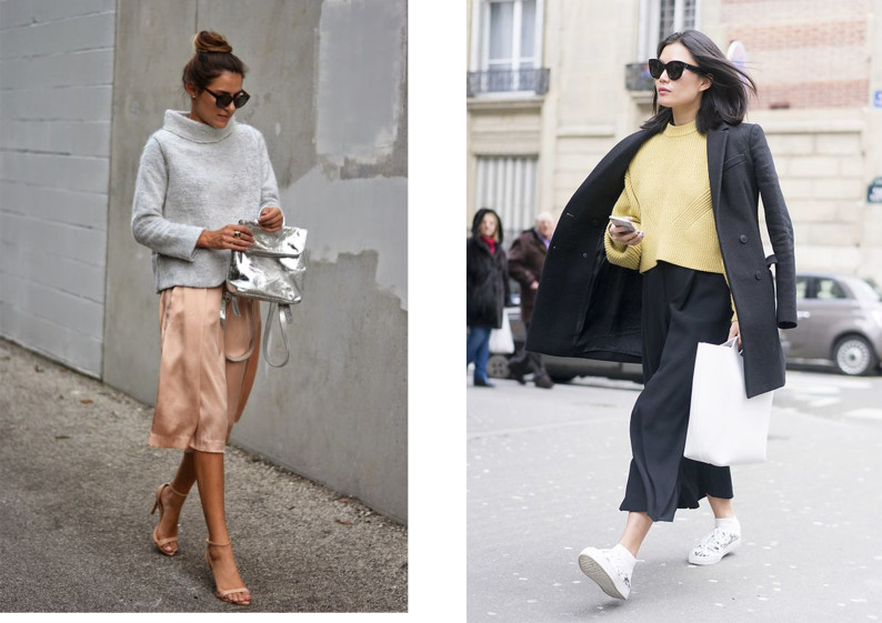 culottes e sneakers trend fall